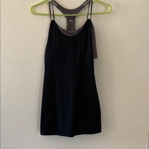 Alo black workout tank with attached sports bra